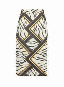 Womens Stone Zebra Print Midi Skirt- Multi Colour, Multi Colour