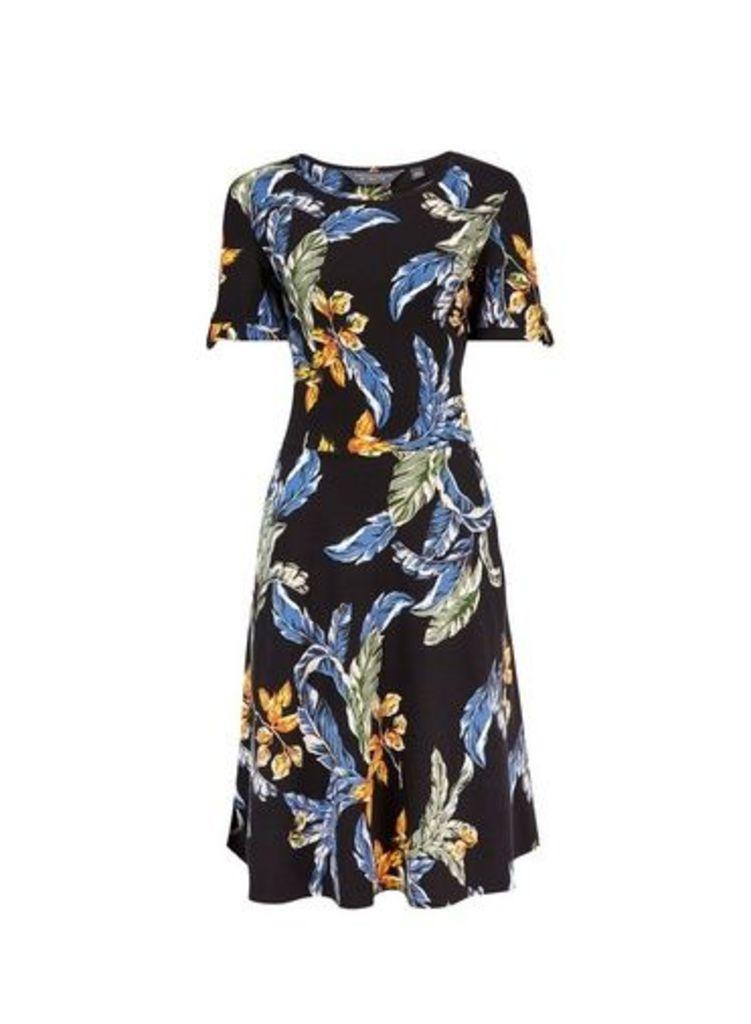 Womens **Tall Black Tropical Print Dress- Black, Black