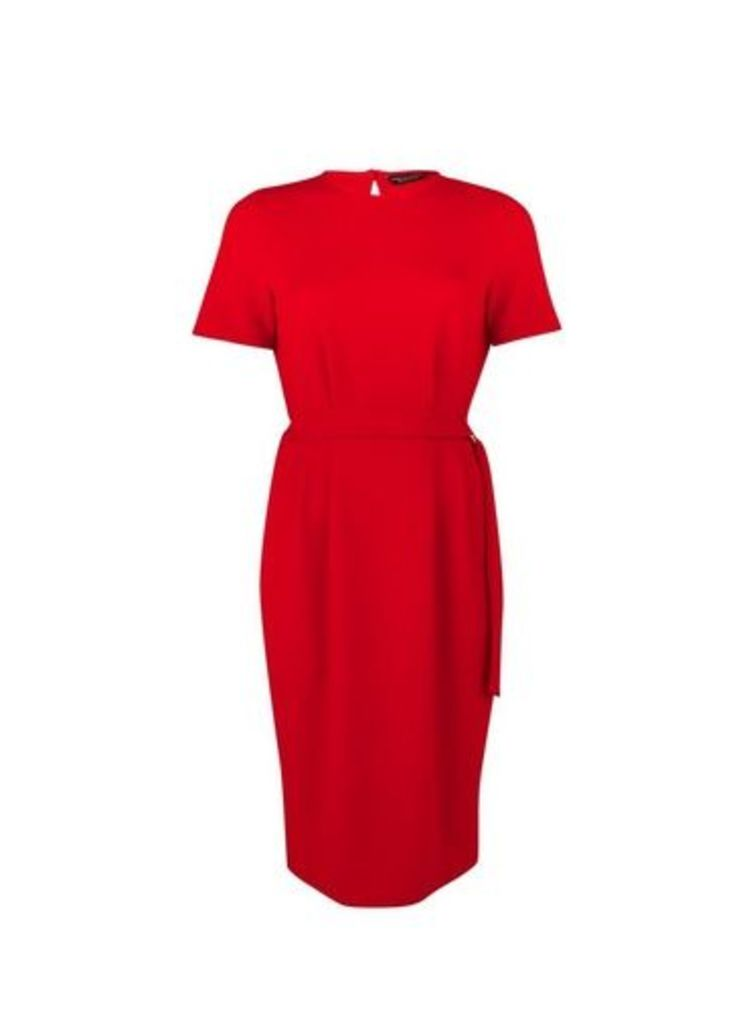 Womens Red D-Ring Midi Shift Dress- Red, Red