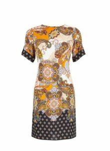 Womens Multi Coloured Paisley Print Shift Dress- Orange, Orange