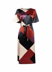 Womens Multi Coloured Colour Block Fit And Flare Dress, Multi Colour