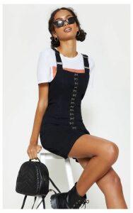Black Square Neck Hook Detail Denim Dress, Black