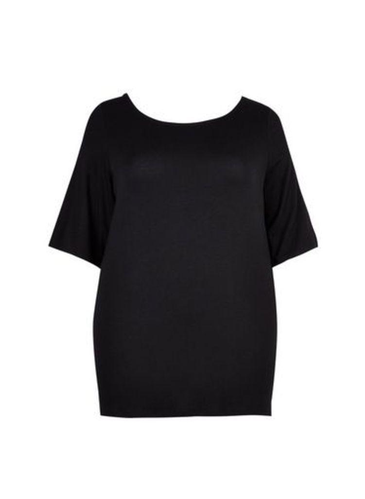 Womens **Dp Curve Black Cross Back Top- Black, Black