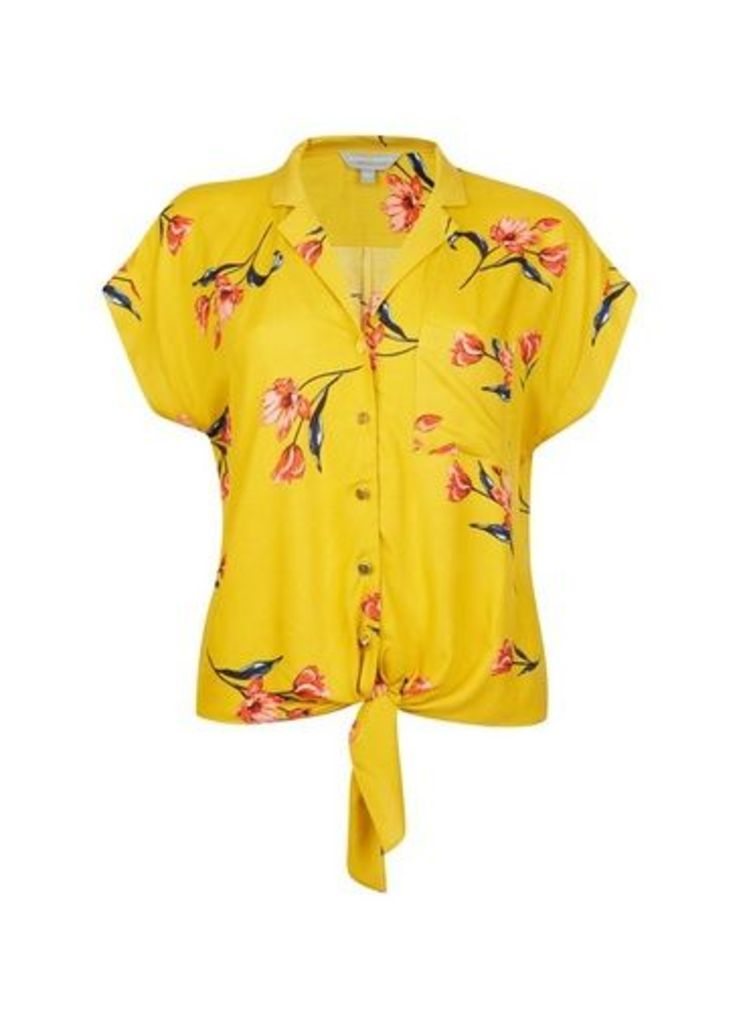 Womens Petite Yellow Floral Print Tie Blouse- Yellow, Yellow