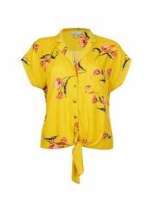Womens Petite Yellow Floral Print Tie Blouse- Yellow, Yellow