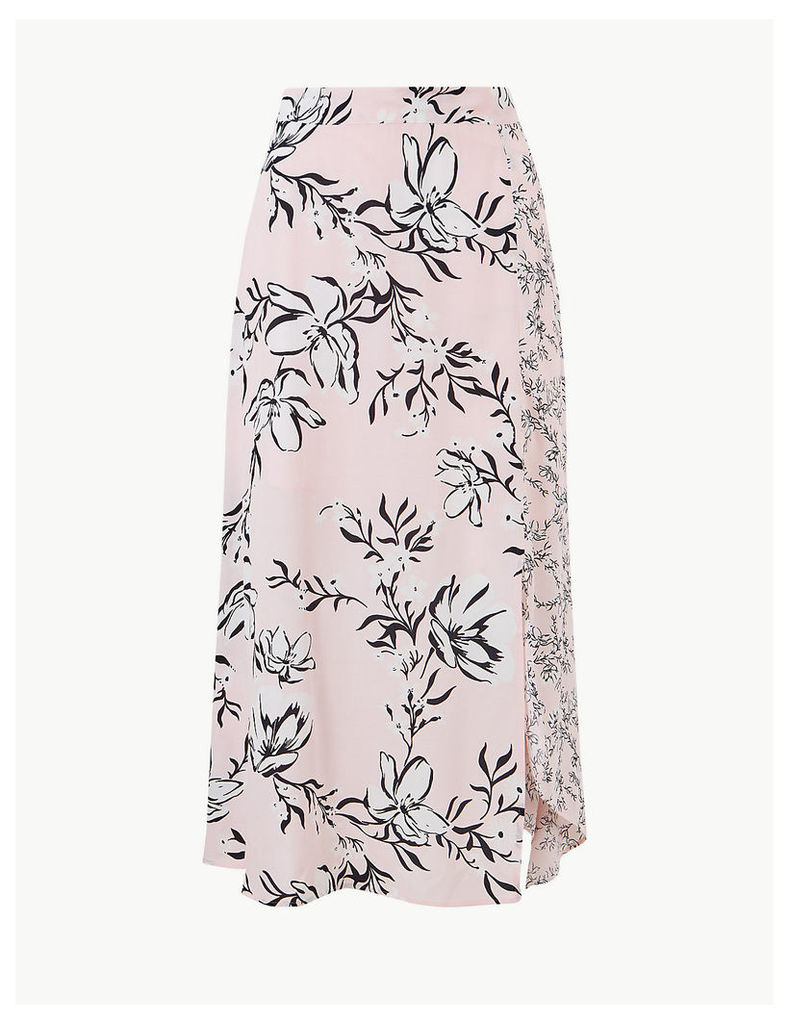 M&S Collection Floral Print Asymmetric Midi Skirt