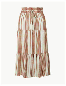 M&S Collection Striped Fit & Flare Midi Skirt