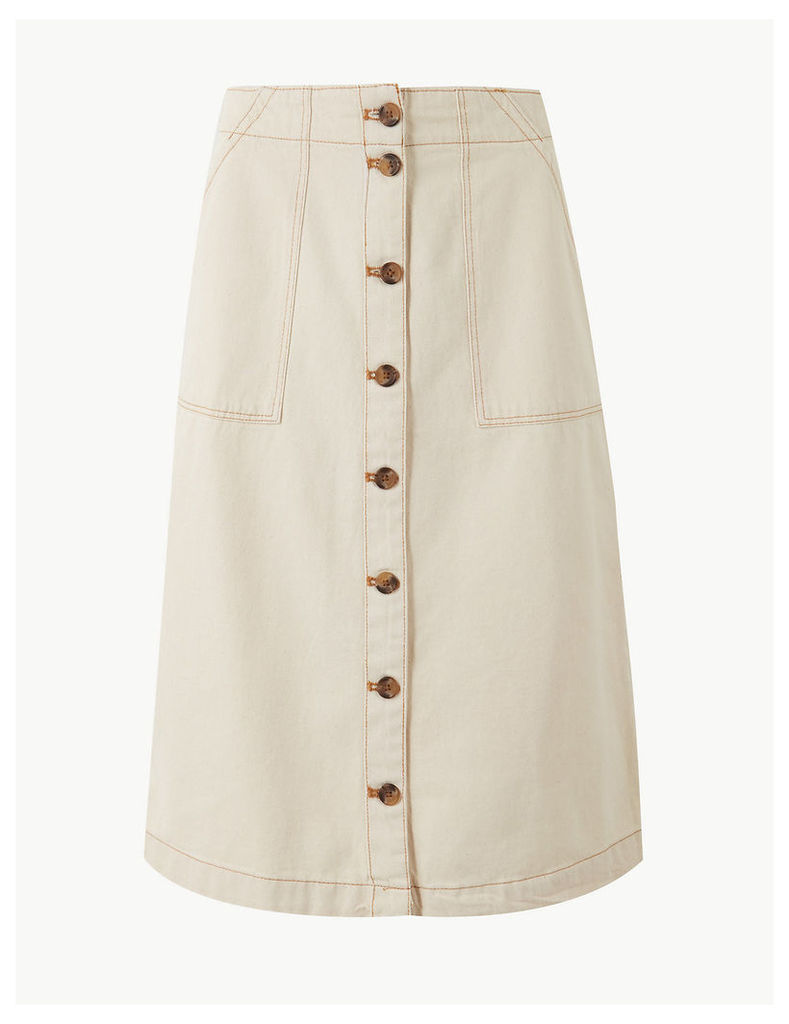 M&S Collection Pure Cotton A-Line Knee Length Cargo Skirt