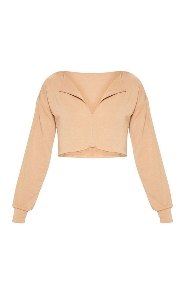 Sand Cut Out Crop Sweater, Sand