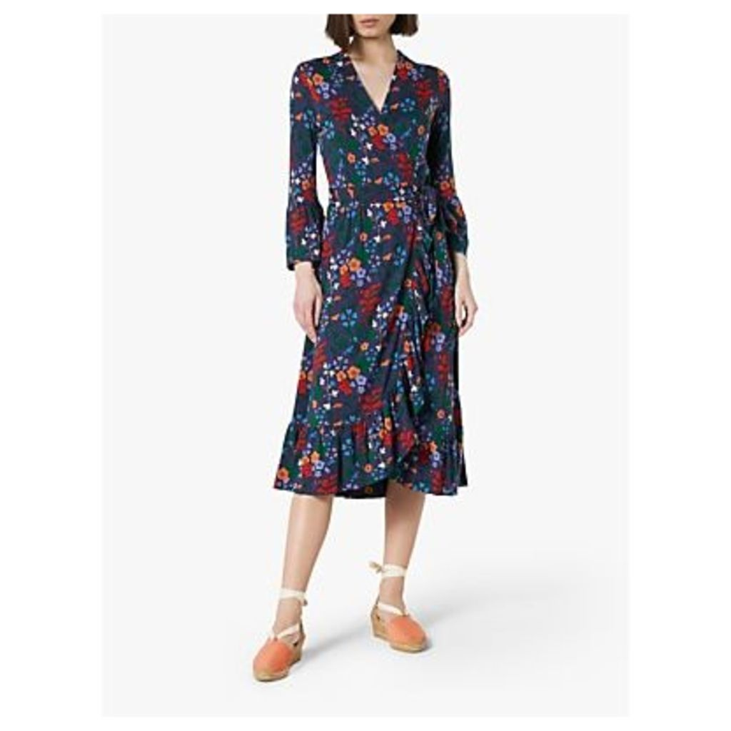 L.K.Bennett Vika Jersey Floral Wrap Dress, Blue/Multi