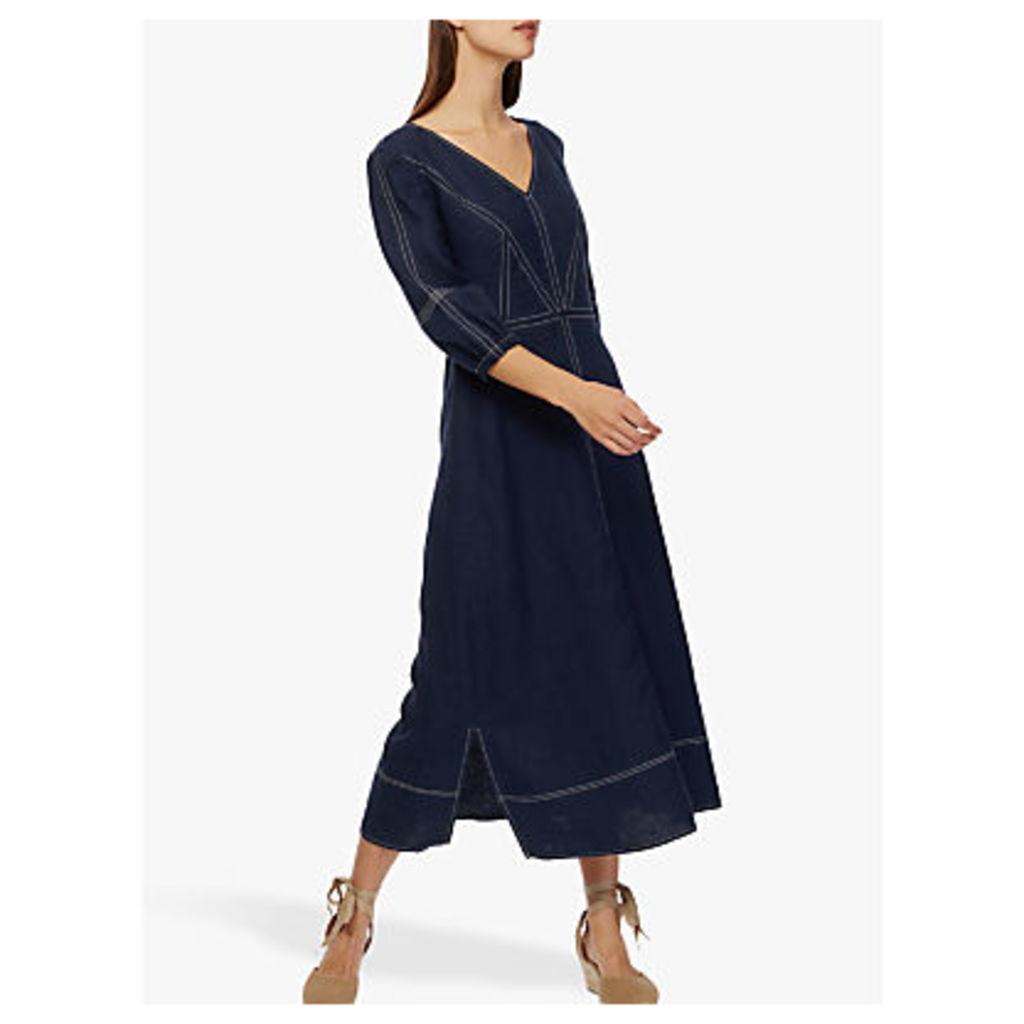 Brora Linen Contrast Stitch Dress, Navy