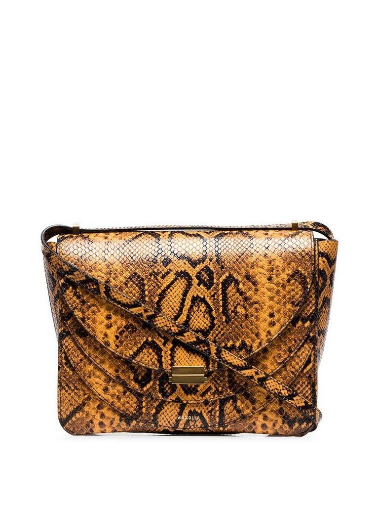 Wandler yellow Luna python embossed leather shoulder bag
