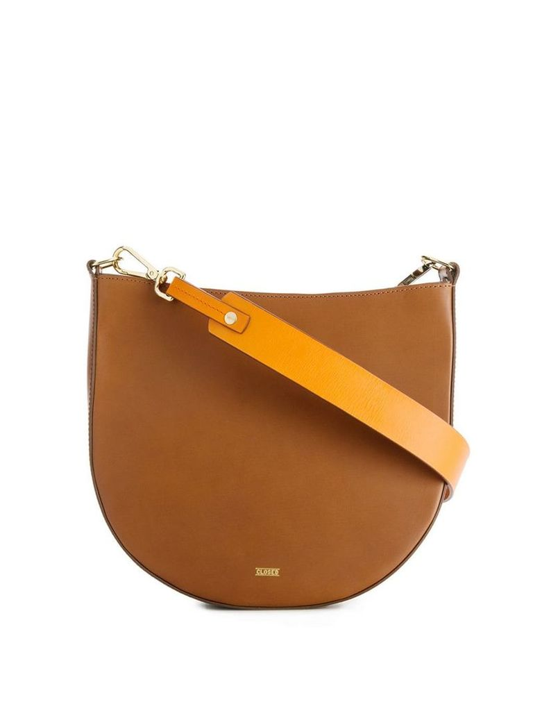 Closed contrasting strap shoulder bag - Brown