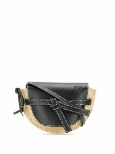 Loewe black and beige gate mini leather and raffia shoulder bag