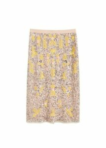 Embroidered motifs midi skirt