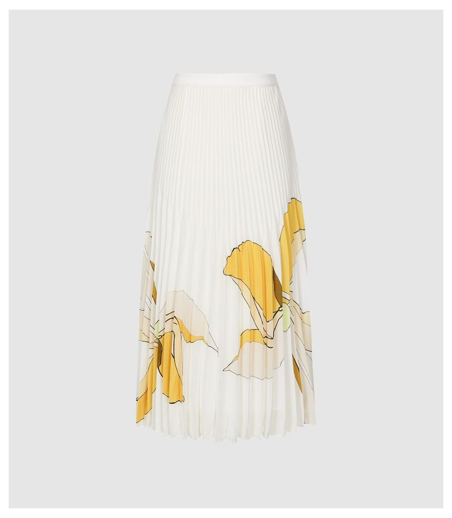 Reiss Armelle - Floral Printed Midi Skirt in Multi White, Womens, Size 14