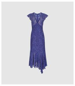Reiss Anastasia - Lace Overlay Flute Hem Midi Dress in Cobalt, Womens, Size 16