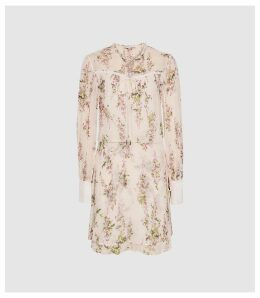 Reiss Lucca - Floral Smock Dress in Floral White, Womens, Size 16