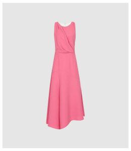 Reiss Cheyenne - Bow Detail Midi  Dress in Pink, Womens, Size 16