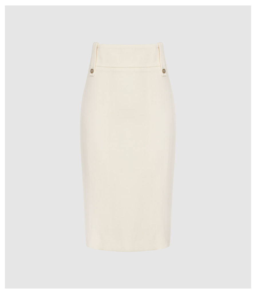 Reiss Lennox Skirt - High Waisted Skirt in Off White, Womens, Size 14