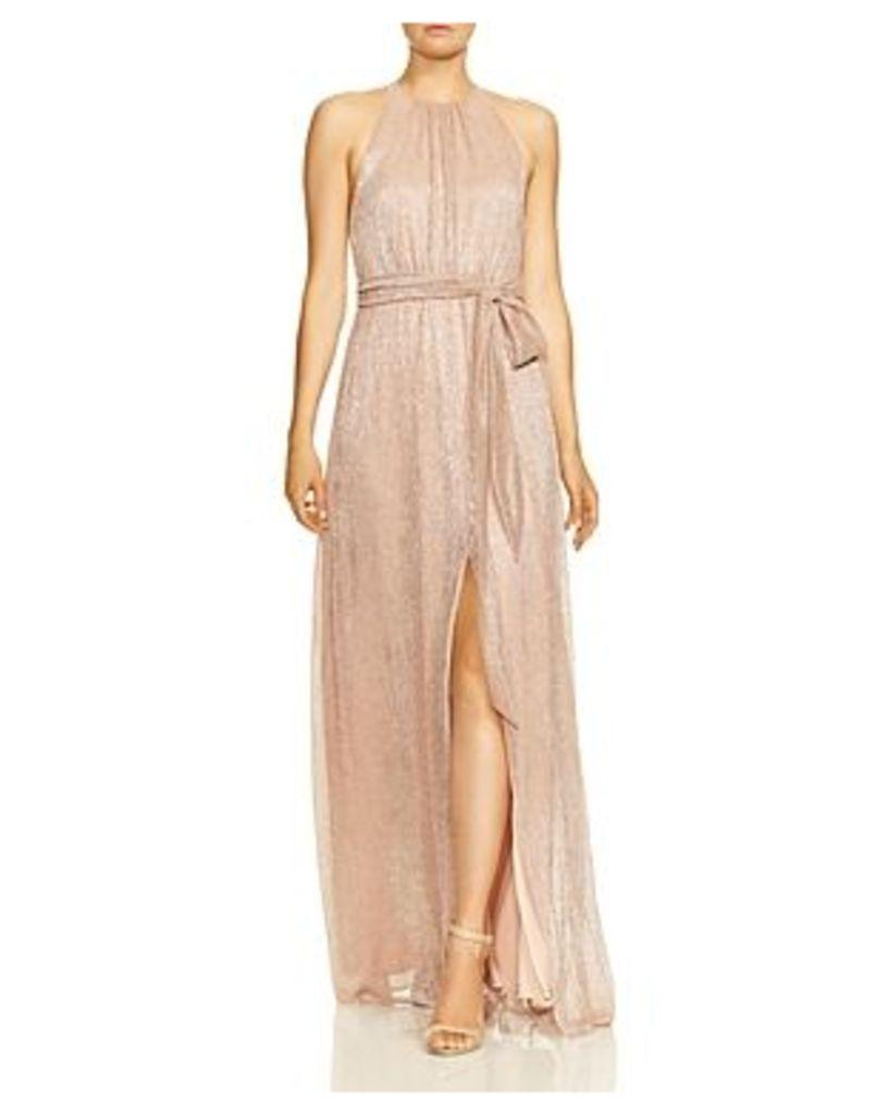 Halston Heritage High-Neck Metallic Gown