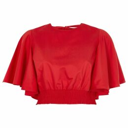 River Island Womens Red frill short sleeve shirRed crop top