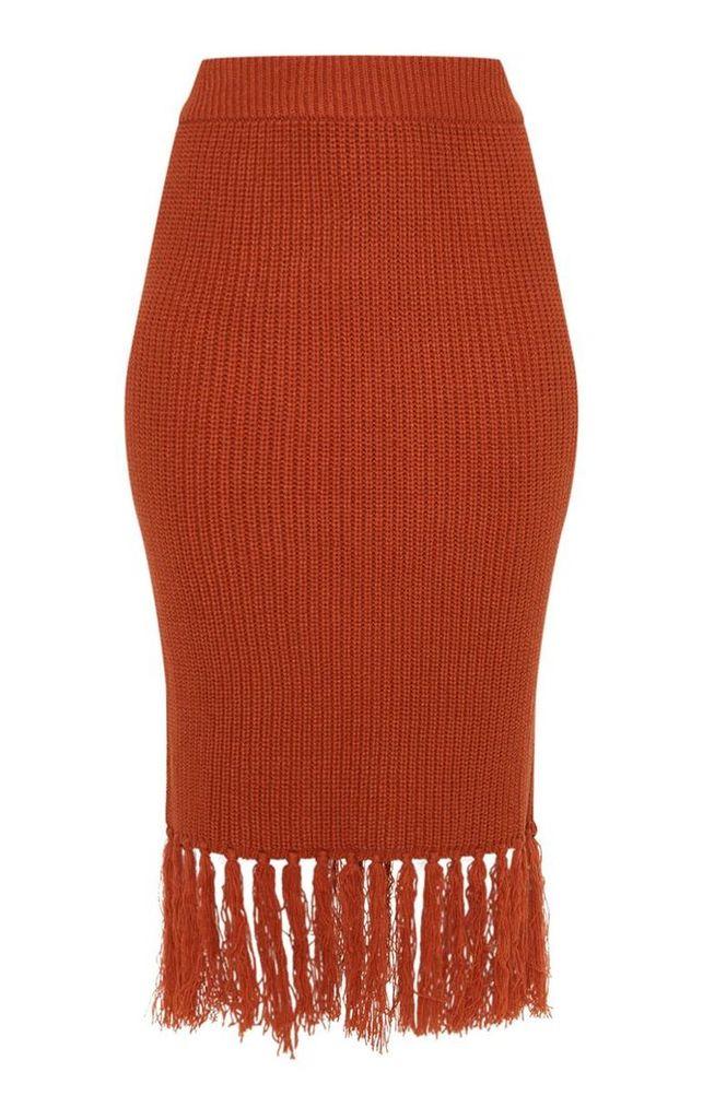 Rust Tassel Hem Knitted Midi Skirt, Orange