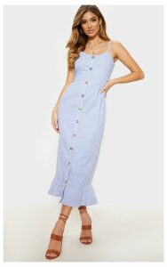 Dusty Blue Stripe Wooden Button Frill Midi Dress, Blue