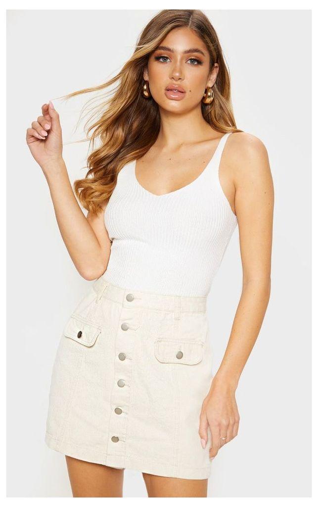 Ecru Pocket Detail Button Through Skirt, Ecru