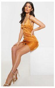 Rust Strappy Satin Ruched Bodycon Dress, Orange
