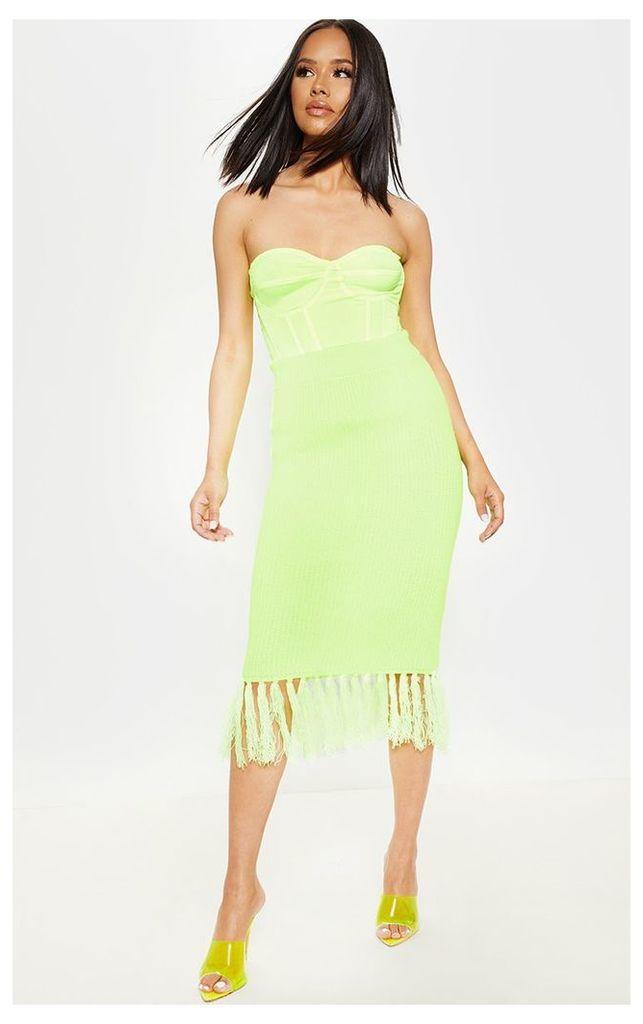 Neon Yellow Tassle Hem Midi Knitted Skirt, Neon Yellow