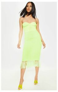 Neon Yellow Tassle Hem Midi Knitted Skirt, Neon Yellow