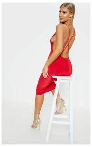 Red Strappy Slinky Cross Back Midi Dress, Red