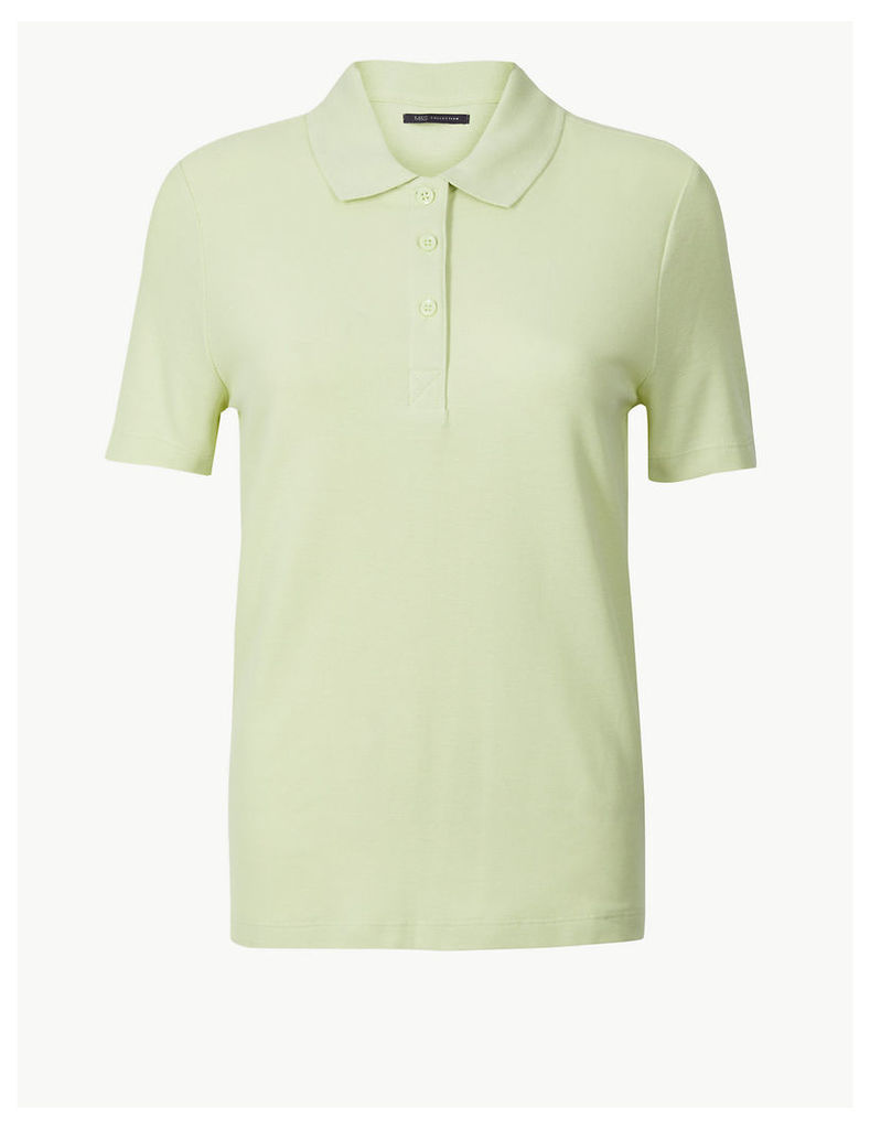 M&S Collection Pure Cotton Short Sleeve Polo Shirt