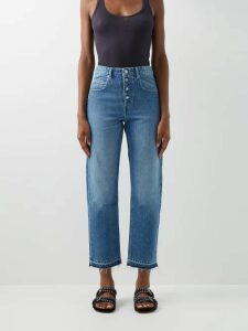 Loewe - Belted Linen Blend Canvas And Suede Trench Coat - Womens - Beige