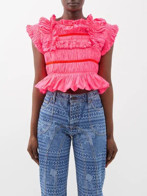 Burberry - Silk Trimmed Cotton Gabardine Car Coat - Womens - Beige Multi