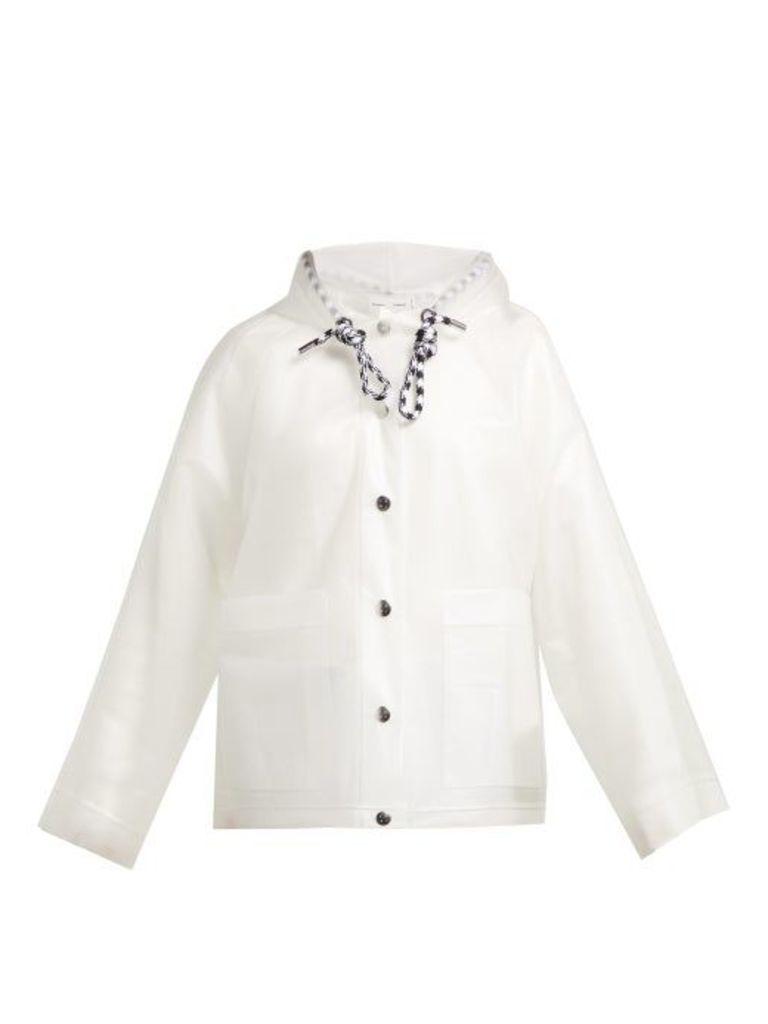 Proenza Schouler Pswl - Logo Print Transparent Raincoat - Womens - White Multi