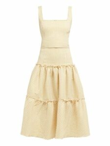 Luisa Beccaria - Tiered Striped Linen Blend Midi Dress - Womens - Yellow Print