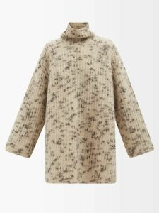 Luisa Beccaria - Tiered Cloqué Midi Dress - Womens - Blue Print