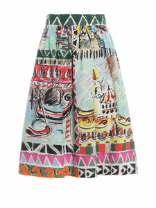 Prada Printed Flared Skirt