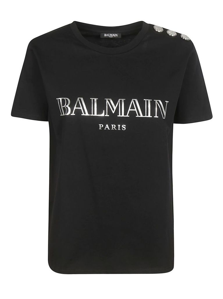 Balmain Embellished Button T-shirt