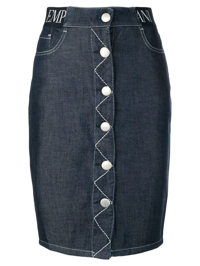 Emporio Armani five pocket design denim skirt - Blue