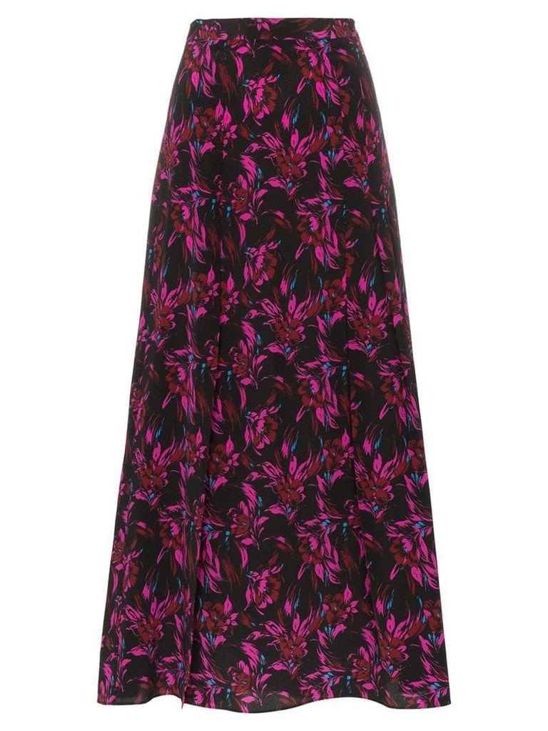 Les Reveries high-waisted floral print front slit silk midi skirt -