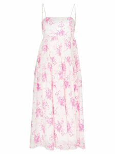 Les Reveries strappy floral print pleated cotton midi dress - White
