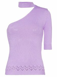 Les Reveries one-shouldered knitted mock neck T-shirt - Purple