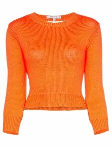 Les Reveries backless long-sleeved knitted crop top - Orange