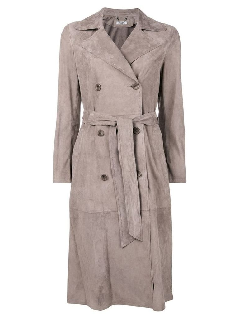 Desa Collection belted coat - Grey