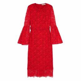 Mary Katrantzou Valley Red Macramé Midi Dress