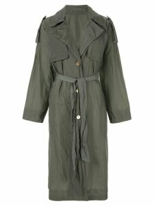 Blueflag + Kiminori Morishita single-breasted trench coat - Green