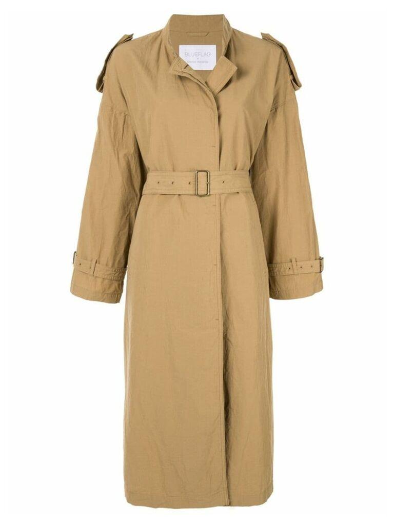 Blueflag + Kiminori Morishita Stand coller belted coat - Brown
